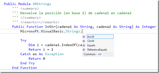 Microsoft.VisualBasic.Strings en app store class library