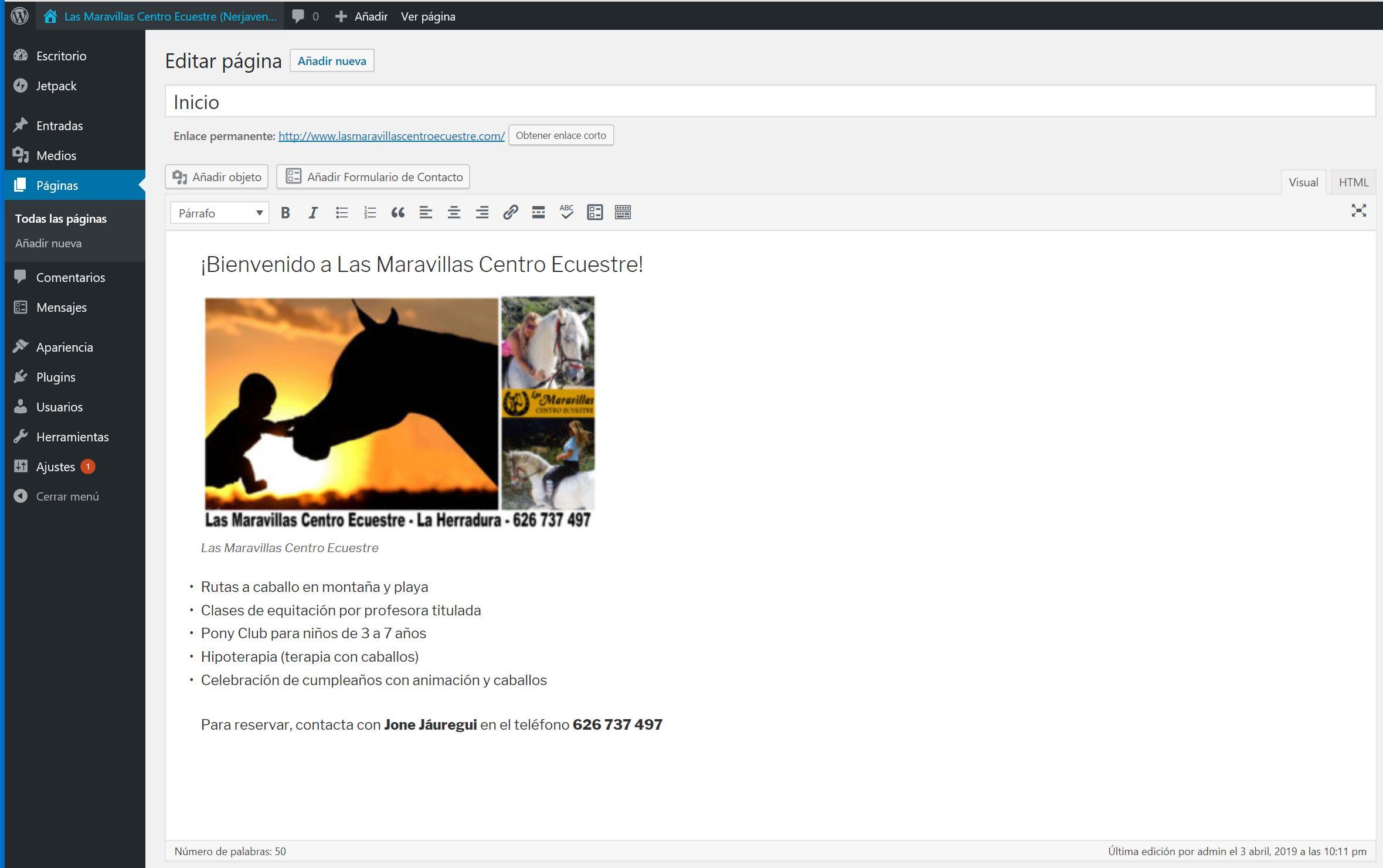 Figura 2. El editor clásico de WordPress