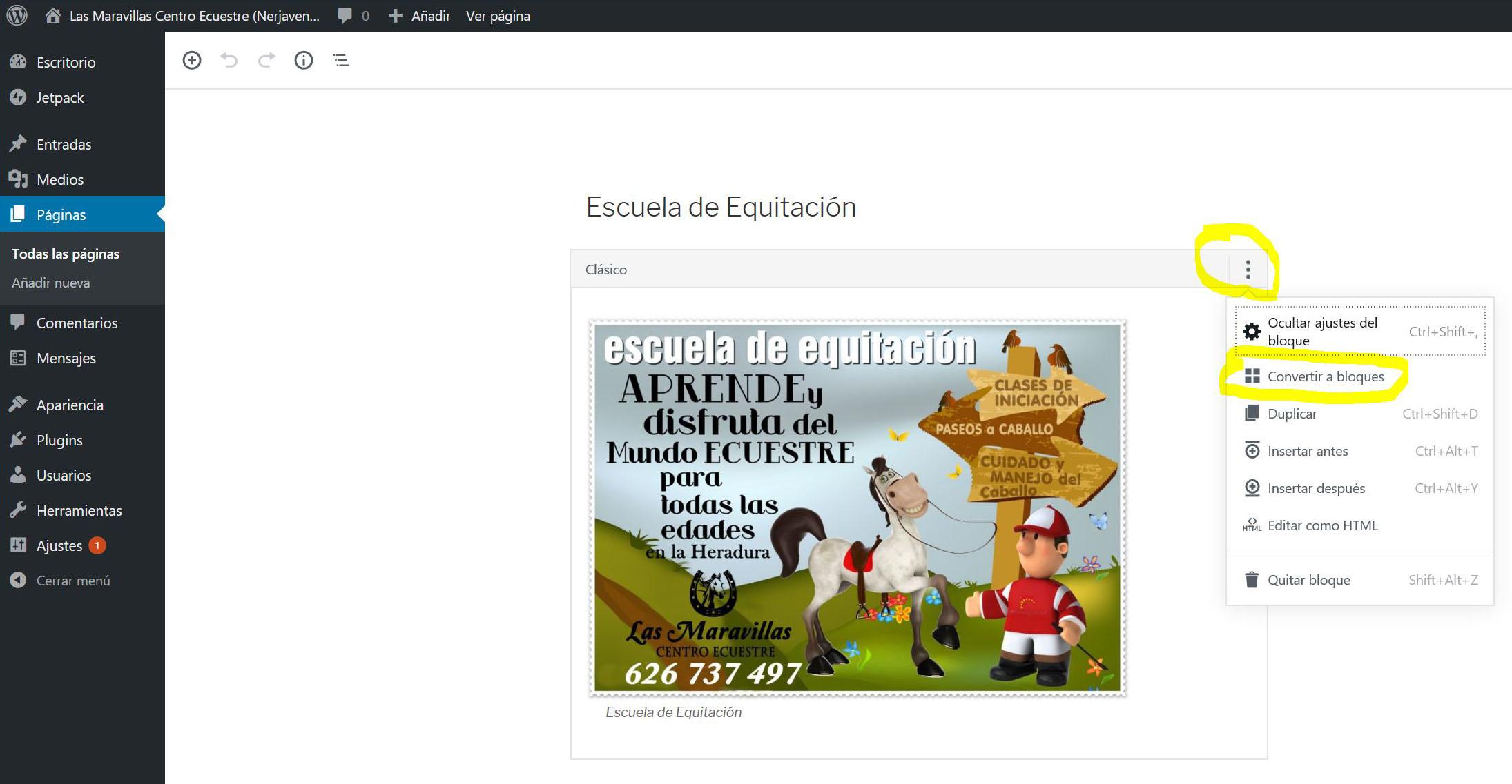 Figura 5. La página convertida a bloques (el nuevo editor de WordPress)