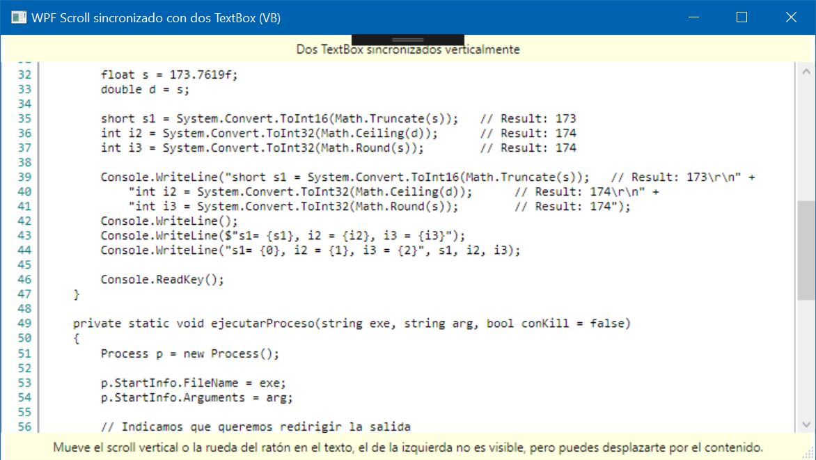 Figura 1. Dos textbox sincronizados con el scroll vertical