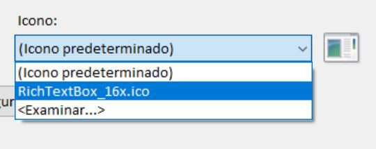 Figura 8. Seleccionar el icono en el proyecto de Visual Basic