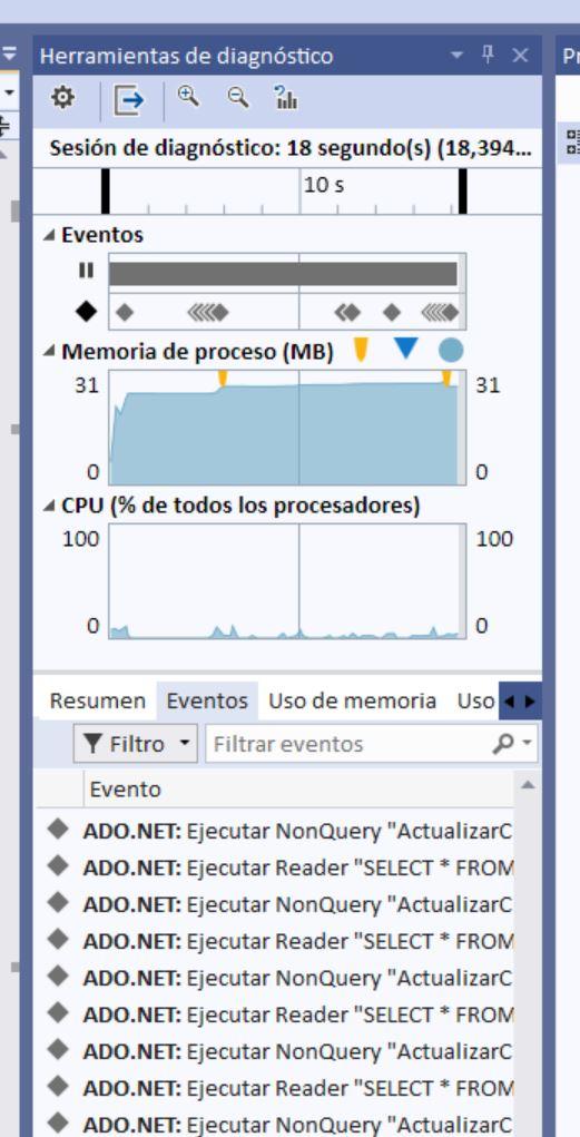 Ventana de las herramientas de diagnóstico de Visual Studio