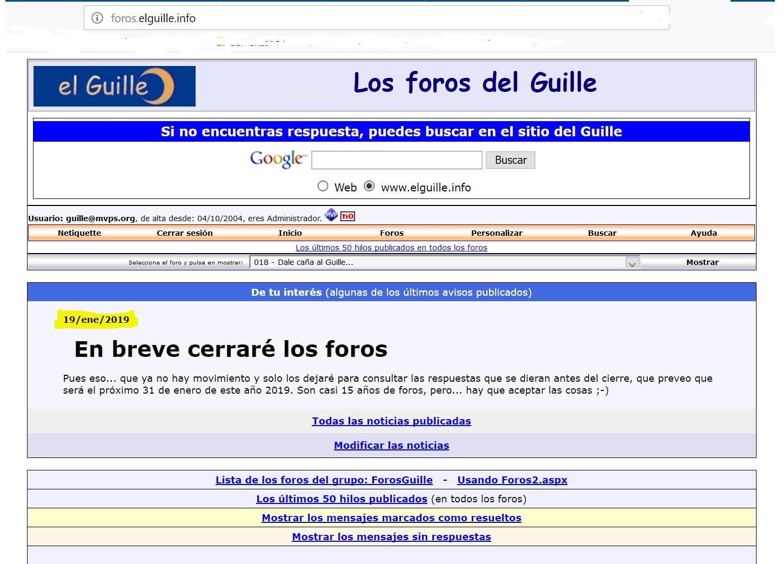 Los foros de elGuille.info pasarán a solo lectura el 1 de febrero de 2019
