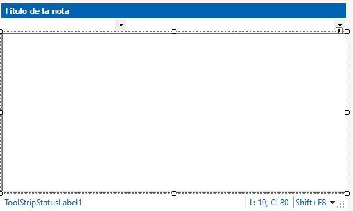 Figura 1. El control NotasUC en tiempo de diseño. Arriba está el control CabeceraNotaUC.