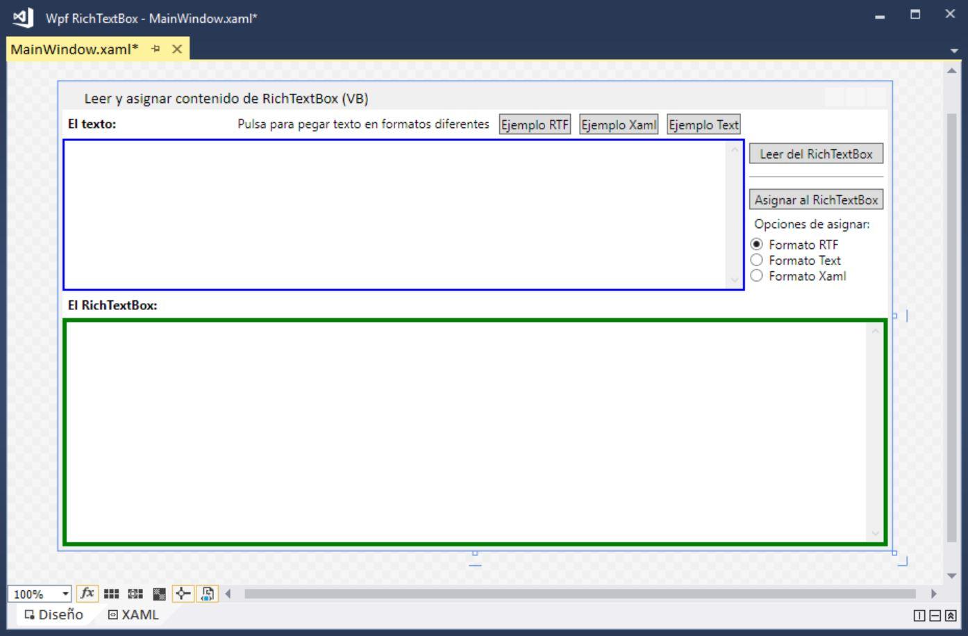 Figura 1. La ventana de la aplicación en tiempo de diseño