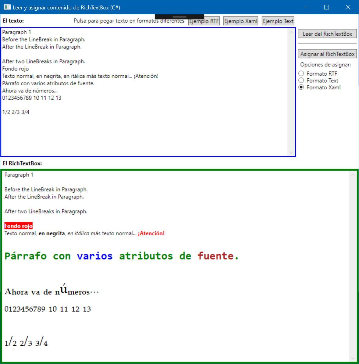 Figura 2. La aplicación en funcionamiento mostrando el código de ejemplo usado para el formato XAML.