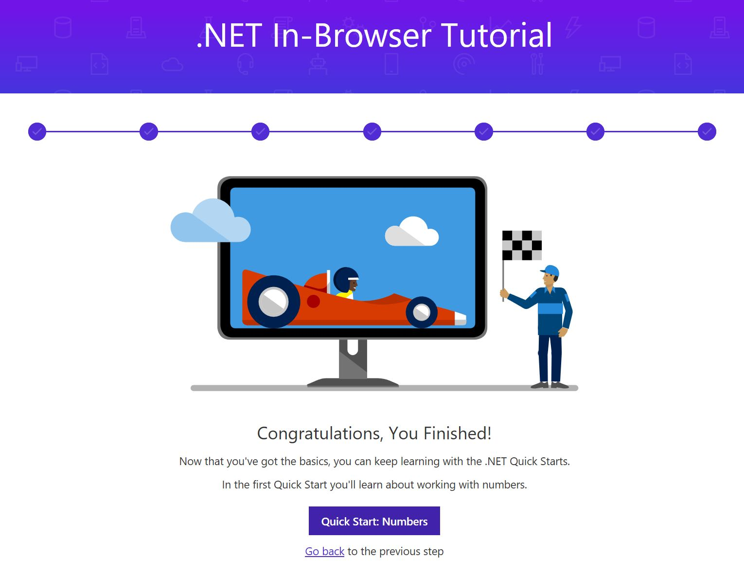 Figura 5. Aquí acaba el tutorial .NET In-Browser