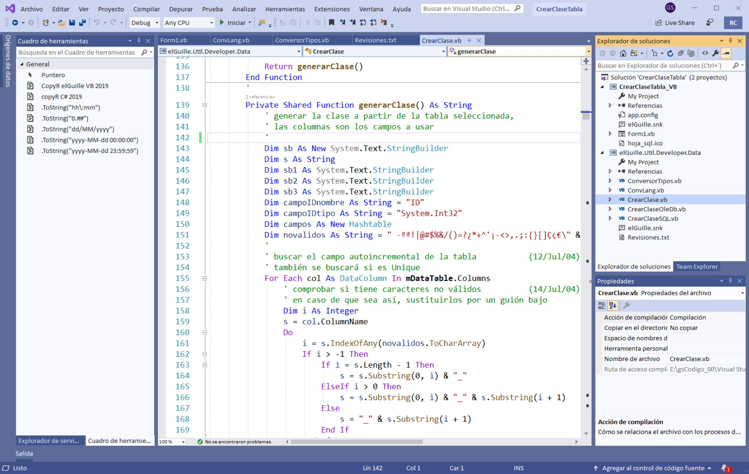 El coloreado (mejorado) de Visual Studio 2019