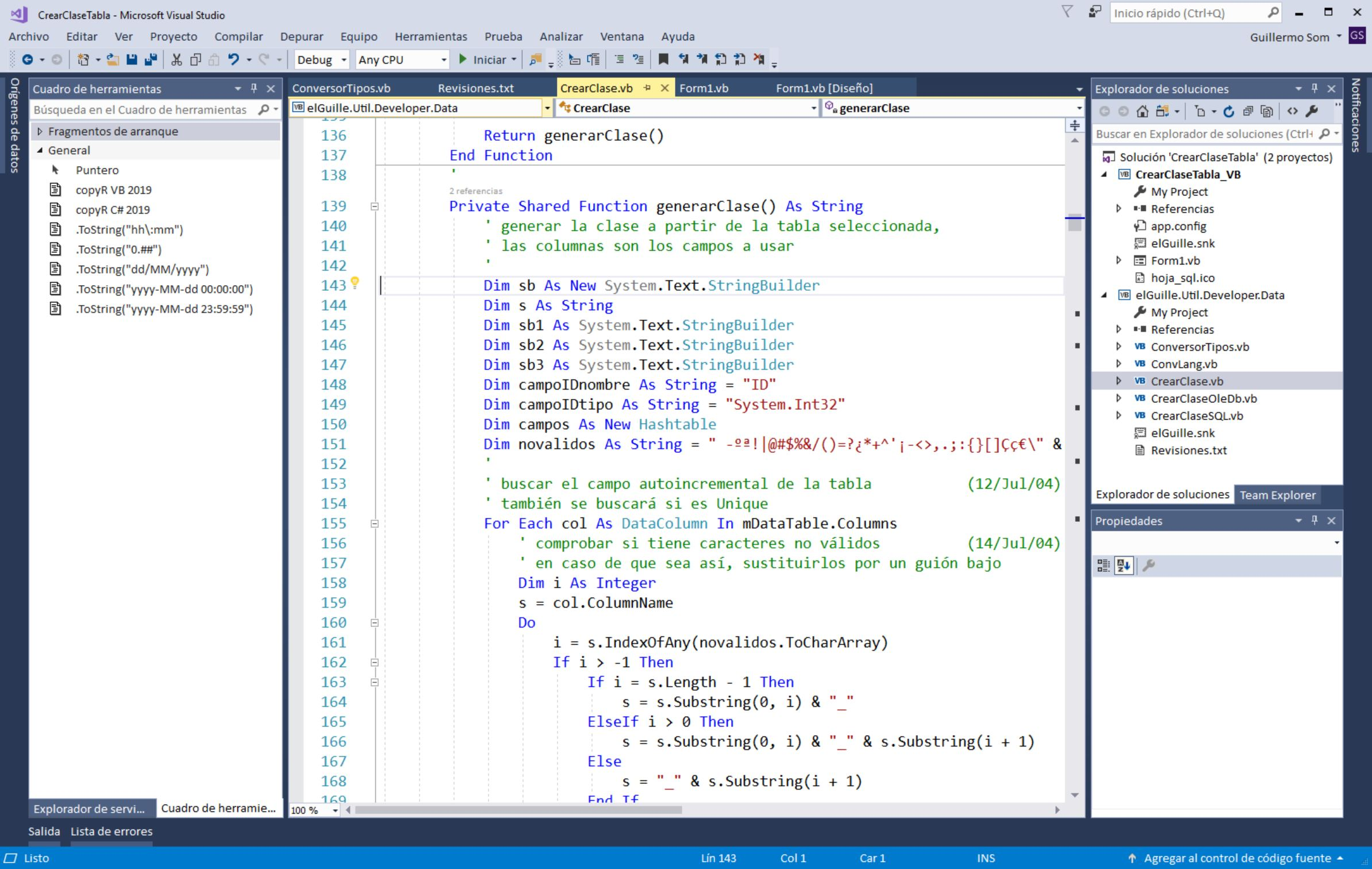 El coloreado (clásico) de Visual Studio 2017