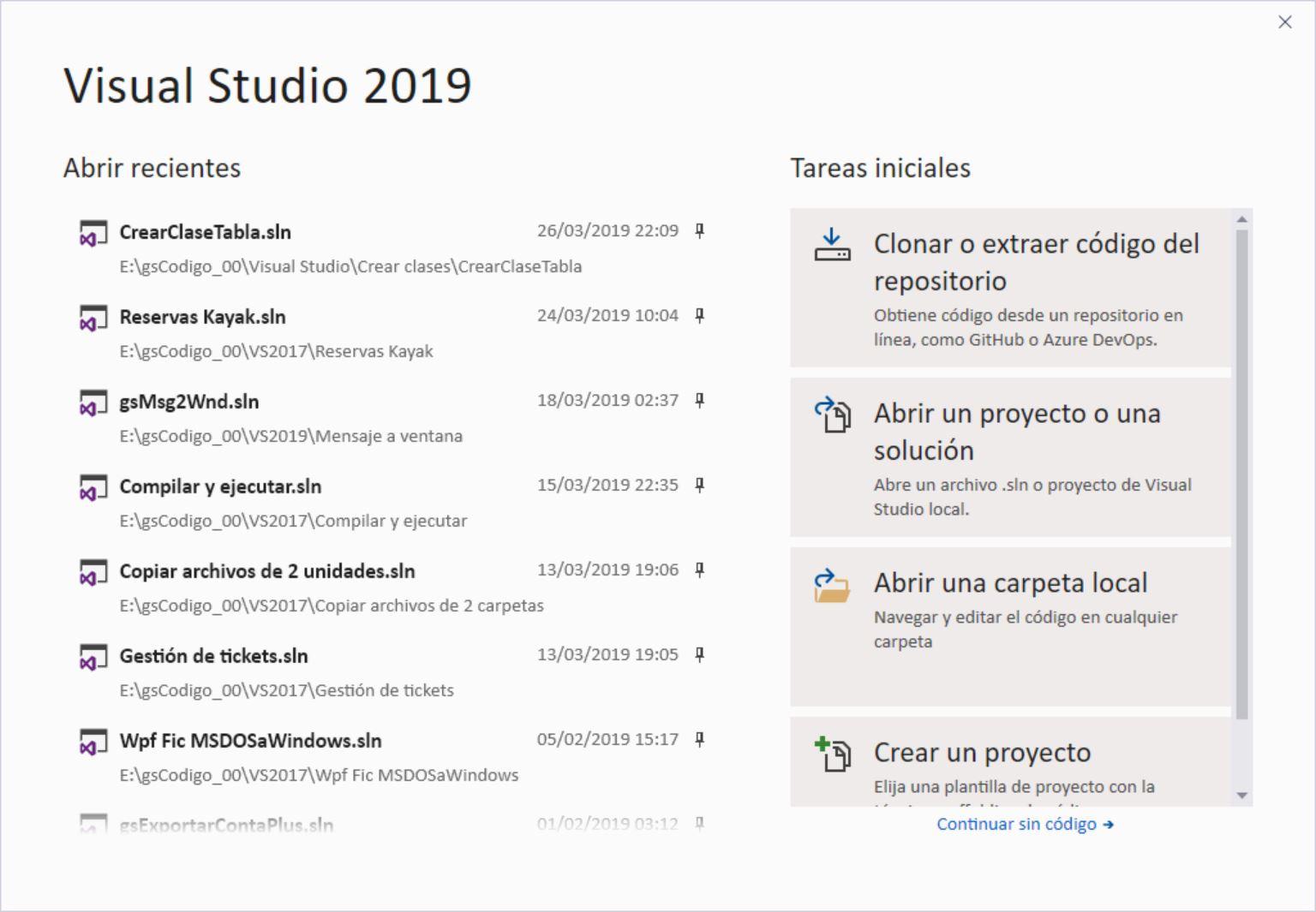 La pantalla de inicio de Visual Studio 2019