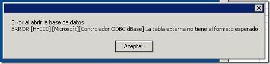 error dBASE en equipo Manolo